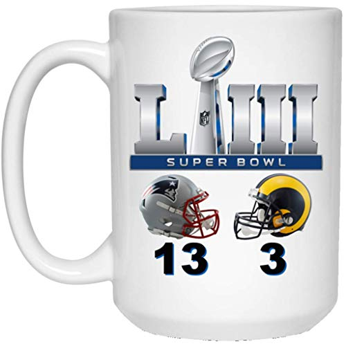 Super Bowl 53 Final Score Coffee Mug | Patriots Mug | Rams Mug | 15 oz White Ceramic Cup Great For Tea & Hot Chocolate | LIII NFL NFC AFC | Perfect Unique Gift For Any Football Fan!