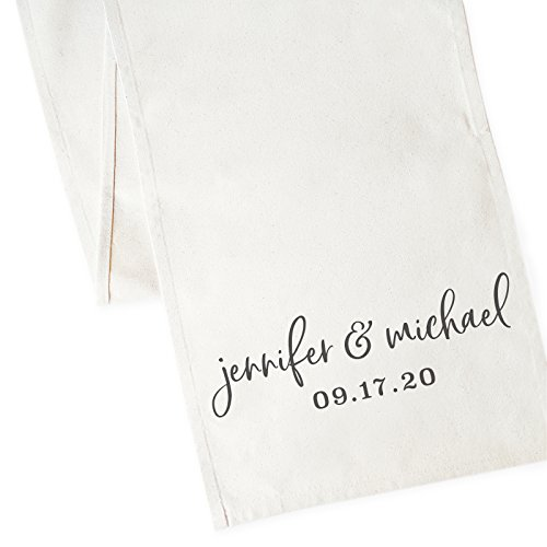 Shower Placemats Bridal Personalized - The Cotton & Canvas Co. Personalized Name and Date Wedding Table Runner and Party Decoration