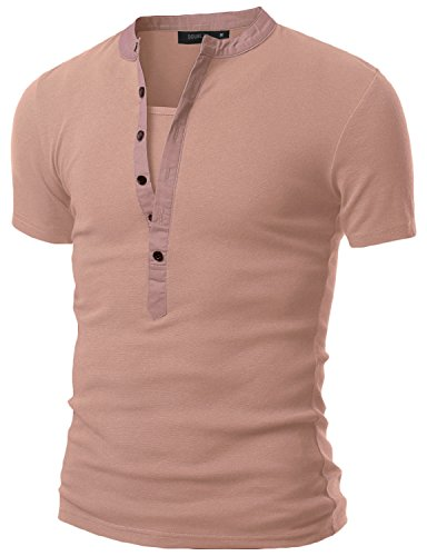Doublju Mens Casual Henley T-Shirts With Short Sleeve INDIPINK - Old Versace Logo
