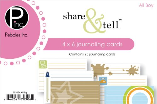 Pebbles Inc. Share & Tell Journaling Cards 25/Package, All Boy