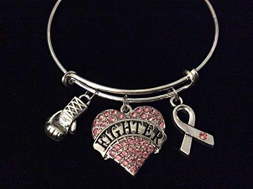 Pink Breast Cancer Fighter Awareness Ribbon Adjustable Bracelet Expandable Silver Charm Bangle Inspirational Gift Boxing Gloves Crystal Heart Personalized Customization Options Available ()