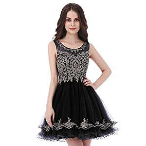 5b80e800f6 Belle House Black Sheer Neck Prom Ball Gown Party Dresses 2018 Short  Homecoming Dresses for Juniors with Beads Lace Appliqued A Line Cocktail  Graduation ...