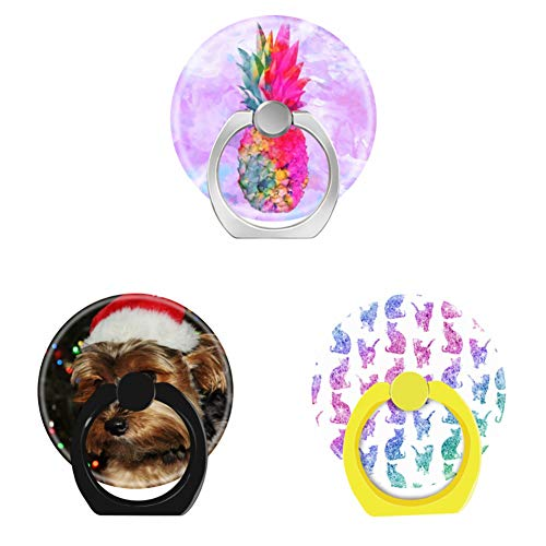 Bsxeos 360°Rotation Cell Phone Ring Holder with Car Mount Work for All Smartphones and Tablets-Cute Yorkshire Terrier Dog with Santa hat-Girly Cats Rainbow Glitter-Hawaiian Pineapple(3 Pack)]()