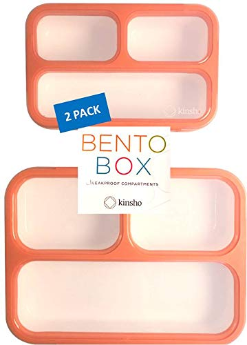 Bento-Box Lunch-Box + Snack Container Set for Women, Girls | Lunch-Boxes and Snack Containers for Work or School | Best for Big Kids Teens, Adults | Peach Pink Coral Large+MINI 2 Pack