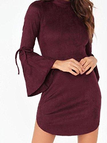 Coolred Bodycon Elegante Forma Manica Tunica Solido Vestito Della Top Womens Rosso Chiarore Vino d5qxtwdT