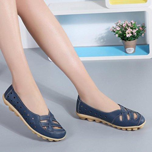 mujeres trabajo Flats deslizan perezosos Hollow Size de Ladies Plus en ocasionales zapatos Transer oscuro suaves las azul Leisure mocasines y se Shoes vUXx8CXw6q