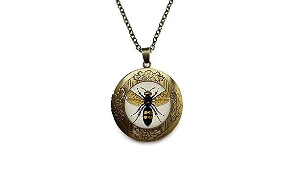 Amazon vintage bronze tone locket picture pendant necklace bee amazon vintage bronze tone locket picture pendant necklace bee animal natural history vintage included free brass chain gifts personalized jewelry aloadofball Image collections