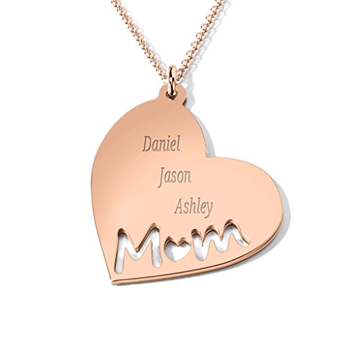 Engravable Rose (14K Rose Gold Mom's Heart Engravable Necklace with a 18