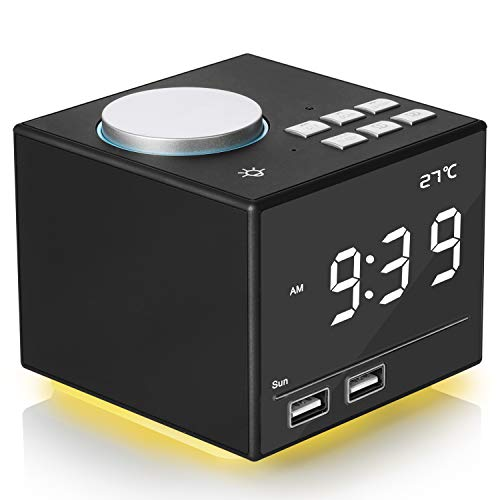 Digital Alarm Clock Radio, Bedside FM Radio Clock With Bluetooth Speaker Colorful Atmosphere Light, Dual Alarms, Snooze&Sleep Timer, Dual USB Port, 4.2 LED Display with Dimmer for Bedroom Home Office