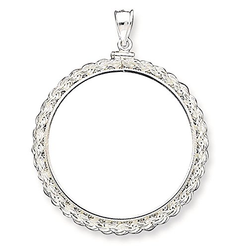 (925 Silver Polished Screw Top Bezel Rope Coin Holder Pendant for 1oz Panda (Coin Size 39.4mm x 3.1mm))