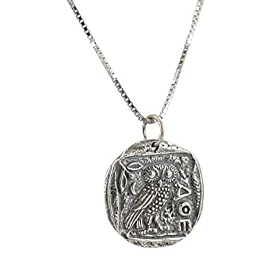 Ancient greek coin necklace with athenas owl in sterling silver on a ancient greek coin necklace with athenas owl in sterling silver on a 20quot chain for mozeypictures Images
