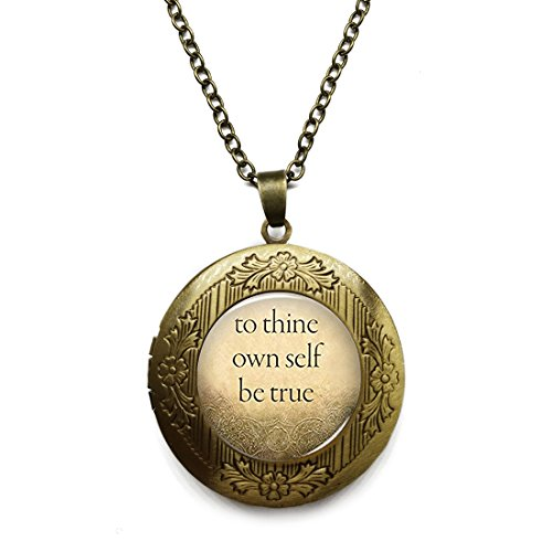 """Vintage Bronze Tone Locket Picture Pendant Necklace Famous Quotes""""To Thine Own Self Be True"""" Included Free Brass Chain Gifts Personalized"""