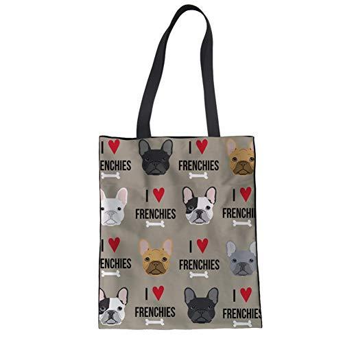 - SANNOVO Women's Canvas Tote Shoulder Bag French Bulldog Shopping Casual Bag Foldaway Travel Bag