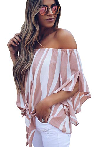 CoolooC Women's Striped Off The Shoulder Tops 3/4 Sleeve Shirt Blouses Tie Knot