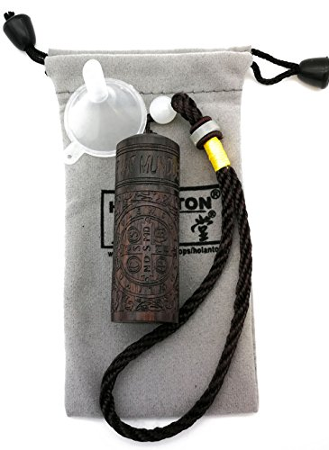 HOLANTON Snuff Bottle with Metal Spoon Funnel Constantine Sculptural Snorting Snorter Blackwood Portable Fragrance Toothpick Case Container (Constantine)