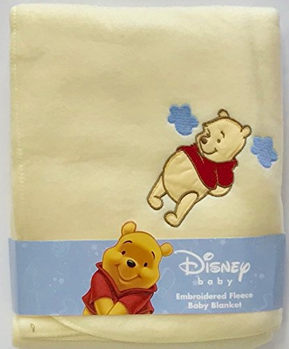 Disney Winnie The Pooh Embroidered Baby Blanket 30 x 40 in. 100% Polyester Fleece For Boys & Girls (Baby Yellow)