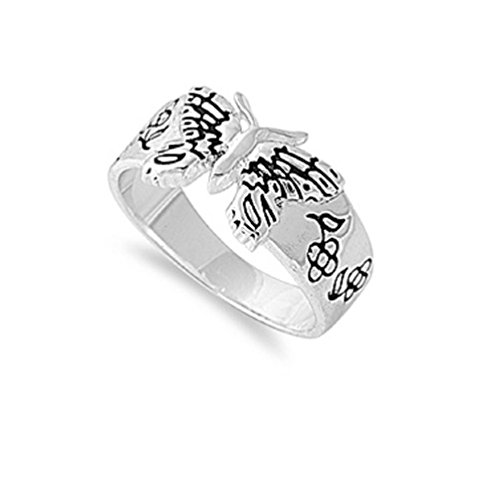 925 Sterling Silver Floral Butterfly Ring Size (Butterfly Floral Ring)