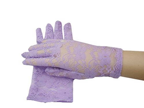Linabridal Women's Vintage Sheer Floral Lace Wrist Length Wedding Gloves YT026WT-Lavender