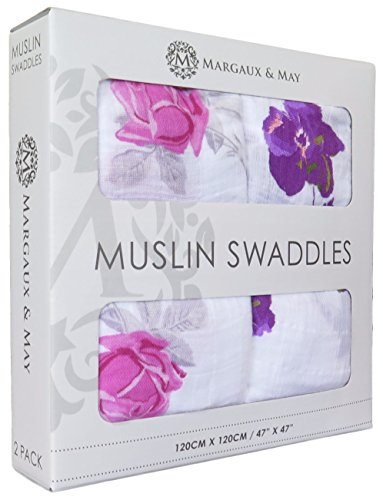 """Ultra Soft Muslin Swaddle Blankets """"Pink & Purple Flowers"""" by Margaux & May - 47 x 47 inch - Perfect Baby Shower Gift"""