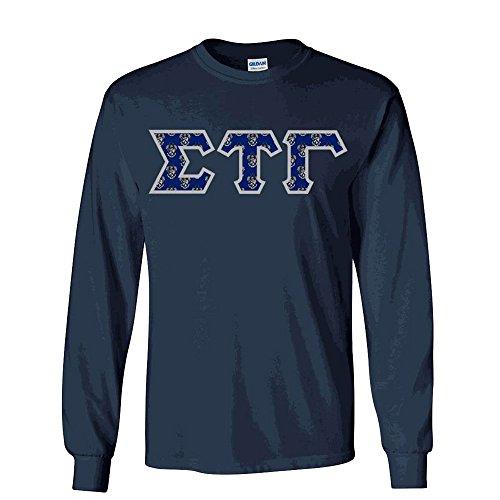 Sigma Tau Gamma Fraternity Crest Twill Letter Longsleeve Tee 2X-Large Navy Blue
