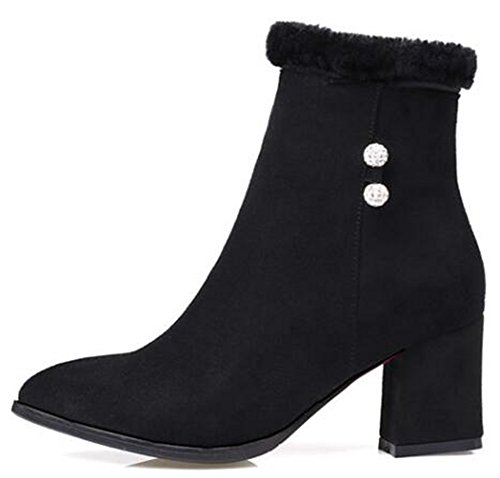 IDIFU Womens Fashion Beads Mid Chunky Heels Pointed Toe Faux Suede Ankle Boots With Zipper Black mreCe