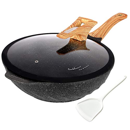 Chinese Wok Nonstick Die-casting Aluminum Dishwasher Safe Scratch Resistant PFOA Free Induction Woks And Stir Fry Pans with Glass Lid 12.6Inch,5.9L,5.6lb - Black