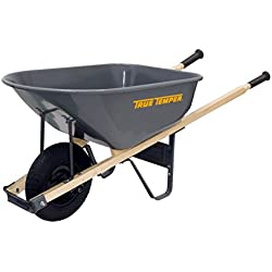 True Temper 6 Cubic Foot Wheelbarrow with Steel Tray and Never Flat Tire - R6FF25