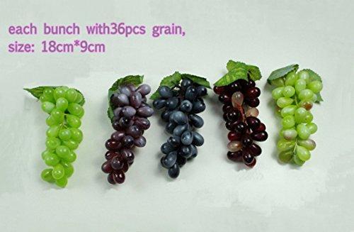 Artificial Mini Grape Lifelike Simulation Grape Fake Fruit Faux Food 36Grain Home Kitchen Decoration Photo Props (50) by artificial grape 36grain