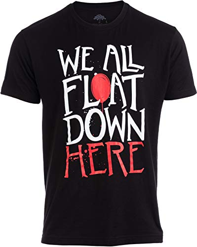 We All Float Down Here | Black Scary Balloon 80s Horror Men Women Joke T-Shirt-(Adult,2XL) ()