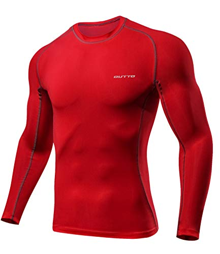 (Outto Men's Long Sleeve T-Shirt Cool Dry Compression Base Layer Sports(Large,663A Red))