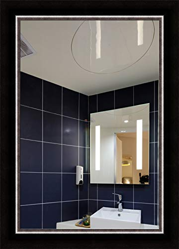 Forever Art Framed Wall Vanity Bathroom Makeup Non-Beveled Glass Mirror with D-Ring, Finished Size 24 in x 36 in, 07-Espresso/Silver, MIRR-24x36-07-MR870-64 ()