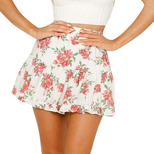 Women Basic Floral Print Sexy Pleated High Waist Hip Stretchy A-line Mini Skater Short Skirt (S, White) (Eyelet Mini Skirt)