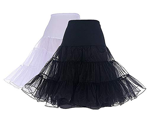 - DRESSTELLS Women's Vintage Rockabilly Petticoat Skirt Tutu 1950s Underskirt 2-Pack(Black+White) L