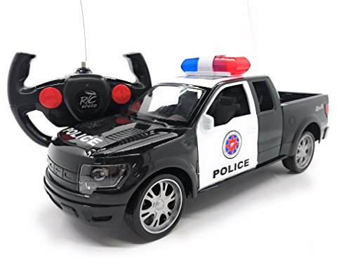 - Full Function RC Police Pickup Truck 1/16 Scale Electric Vehicle w/LED Lights, Realistic Police Siren & Rechargeable Battery, Remote Control Police Car