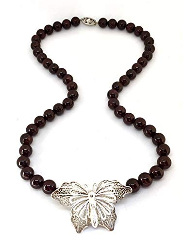 Garnet handmade beaded necklace with Art Deco antique filigree butterfly pin & clasp