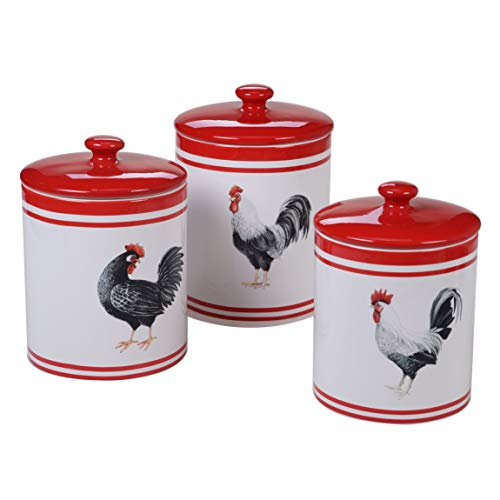 (Certified International 26785 Homestead Rooster 3 pc. Canister Set Servware, Serving Acessories, Multicolred)