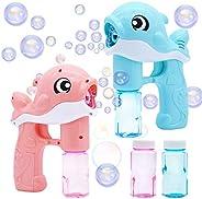 2 Bubble Guns Kit Whale Automatic Bubble Maker Blower Machine with 2 Bubble Solutions for Kids, Bubble Blower