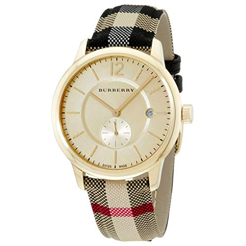 (Burberry Watches for Women Gold Tone Textile Multi Color Band Quartz BU10001)