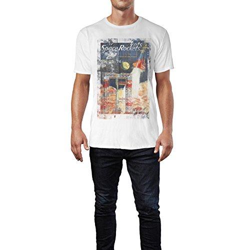 SINUS ART® Space Rockets Herren T-Shirts stilvolles weißes Fun Shirt mit tollen Aufdruck