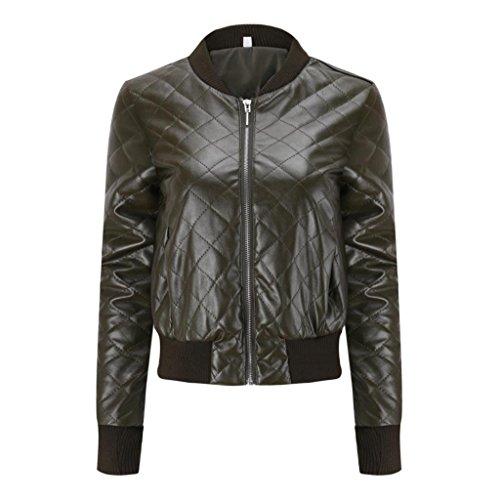 de Chaqueta superior de de de delgada cuero moda cuero invierno impermeable Chaqueta abrigo PU solapa blusa de Verde Internet Abrigo la de de Chaqueta Mujer qpRnYZ