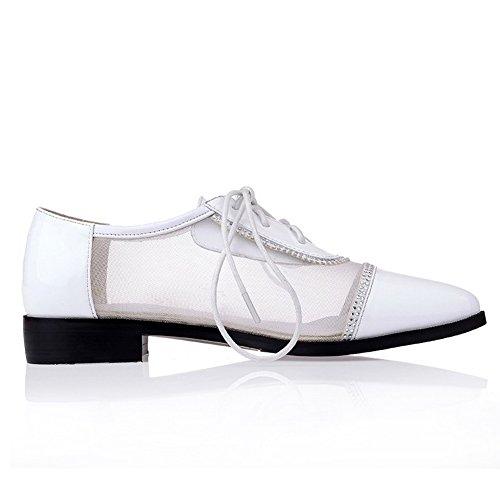 Amoonyfashion Donna Punta Chiusa Punta Tacco Misto Materiale Solido Pompe-scarpe Bianche