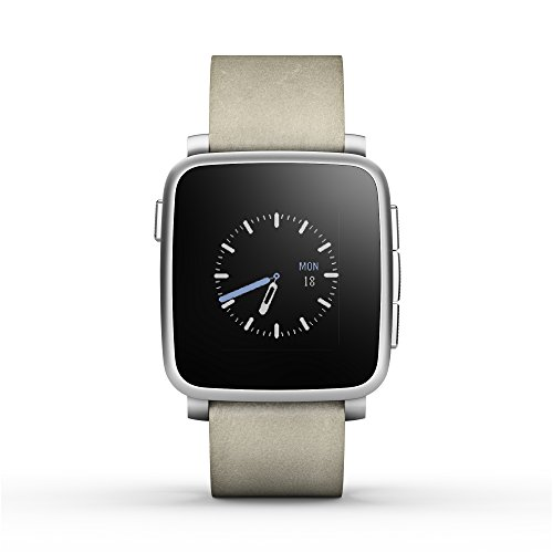 Pebble Time Steel Smartwatch for AppleAndroid Devices - Silver