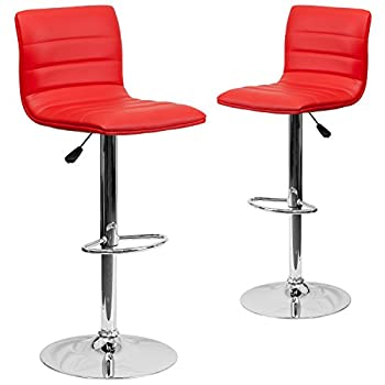 Image of Barstools Flash Furniture 2 Pk. Contemporary Red Vinyl Adjustable Height Barstool with Horizontal Stitch Back and Chrome Base