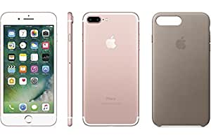 Apple iPhone 7 Plus, GSM Unlocked, 32GB - Rose Gold (Certified Refurbished) + Apple iPhone Leather Case Taupe