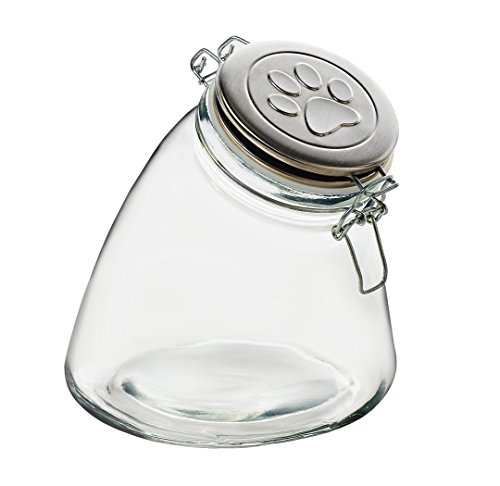 Amici Pet A7CA111R Slope Clear Glass Storage Canister Stainless Steel Raised Paw Relief Metal Hermetic Preserving Lid 56 Fluid Ounce Capacity ()