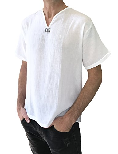 Men's White T-shirt Short Sleeve 100% Cotton Thai Hippie Summer Beach Yoga Top - Fashion Hippie Male