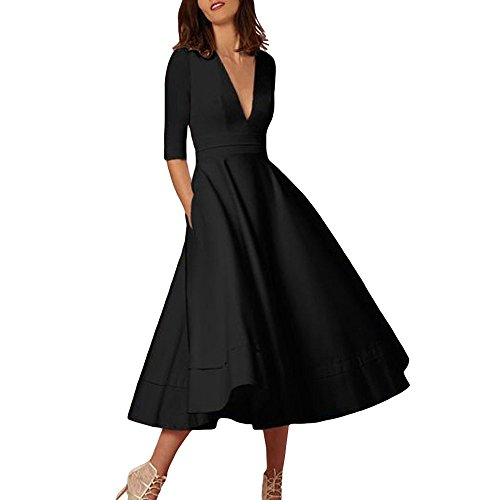 5dd63dd7622d9 Women Long Dress Daoroka Women s Sexy Plus Size Deep V-Neck Vintage Evening  Party Swing Dress Half Sleeve Cocktail Tunic Ball Gown Prom Ladies Swing  Skirt ...