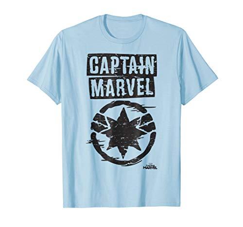 (Captain Marvel Painted Circle Logo Graphic T-Shirt)