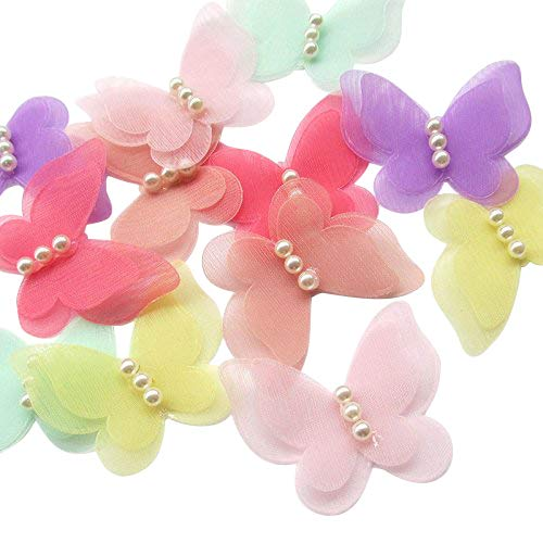 Dandan DIY 30pcs Organza Ribbon Flowers Bows Butterfly Pearl Appliques Wedding Decor (Multi-color)