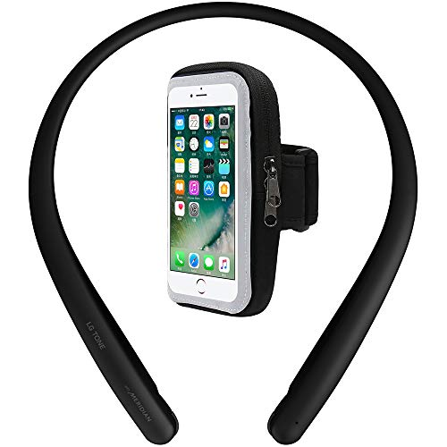 LG HBS-SL5.ACUSBKI Tone Style HBS-SL5 Bluetooth Wireless Stereo Headset Black Bundle with Deco Essentials Cell Phone Sport Armband Holder with Zipper Pocket for Essentials